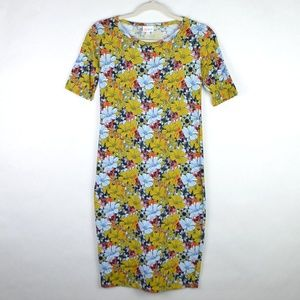 LuLaRoe Dress Julia Blue Yellow Red Floral X-Small